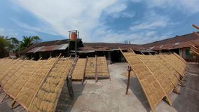 Noodle factory in Bantul, Yogyakarta, Indonesia. Panorama 360 noodle drying in sun at noodle factory in indonesia Bantul, Yogyakarta, Indonesia stock video