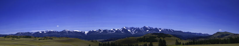 Panorama of North-Chuya ridge in the Altai Mountains. At sunny day summer stock photos
