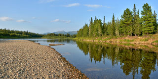 Panorama of North river protected. Royalty Free Stock Photography