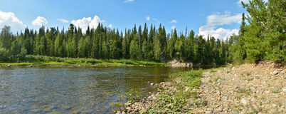 Panorama of North river protected. Royalty Free Stock Images