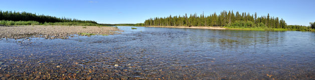 Panorama of the Northern river Royalty Free Stock Photo