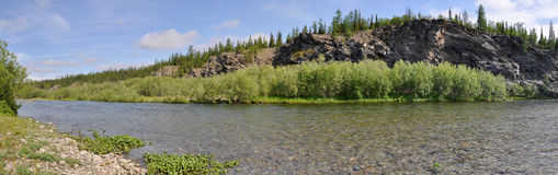 Panorama of the Northern river Stock Photography