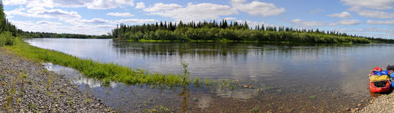 Panorama of the Northern river Stock Photos