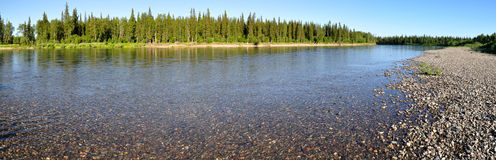 Panorama of the Northern river Royalty Free Stock Photos