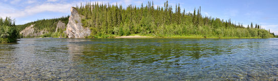 Panorama of the Northern river Royalty Free Stock Photography