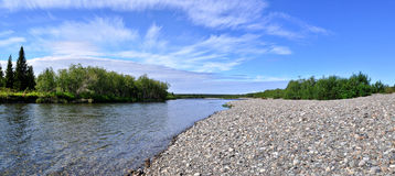 Panorama of Northern Ural river under the sun. Royalty Free Stock Image