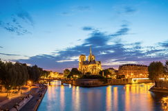 Panorama of Notre Dame Cathedral Stock Photos