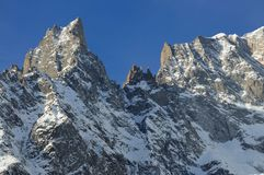 Panorama of Notre dame church in Courmayeur, Italy Royalty Free Stock Photography