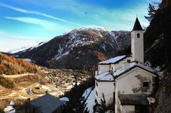 Panorama of Notre dame church in Courmayeur, Italy Royalty Free Stock Photo