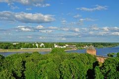 Panorama of Novgorod Kremlin from height, Veliky Novgorod Royalty Free Stock Images