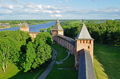 Panorama of Novgorod Kremlin from a  height, Veliky Novgorod Stock Images
