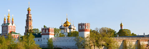 Panorama of Novodevichy Convent. Also known as Bogoroditse-Smolensky Monastery royalty free stock photography