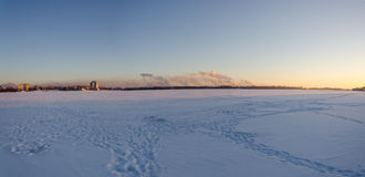 Panorama of the Novolipetsk metallurgical combine. View from the ice of the river Voronezh Royalty Free Stock Photography