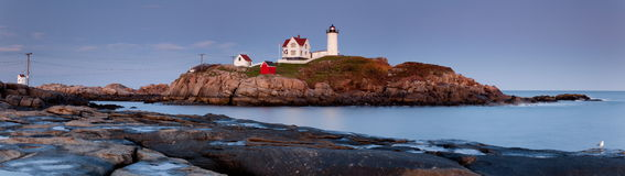 Panorama of Nubble Lighthouse Royalty Free Stock Photo
