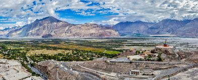 Panorama of Nubra valley in Himalayas Royalty Free Stock Image