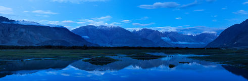 Panorama of Nubra valley in twilight. Ladah, India Stock Photos