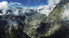 Panorama of Nuns Valley in Madeira Portugal stock image