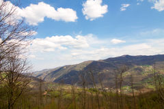 Panorama of Nure valley  in springtime in Emilia romagna Royalty Free Stock Photography