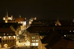 Panorama of Nuremberg. Night in Nuremberg in the christmas time. It shows the entrance of the famous christkindlesmarket one day before it starts Royalty Free Stock Images