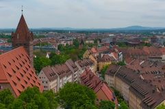 Panorama of Nuremberg. Famous aerial panorama of the Old Town architecture in Nuremberg, Germany Royalty Free Stock Photos