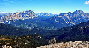 Panorama from Nuvolau peak in Dolomites royalty free stock images