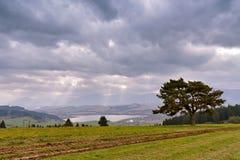 Panorama nuvoloso di mattina di autunno della Slovacchia Scena rurale di caduta Fotografia Stock Libera da Diritti