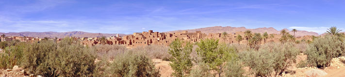 Panorama from an oasis in the mountains in Morocco Royalty Free Stock Image