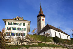 Panorama of Oberhofen. With the church. Oberhofen, Bern, Switzerland Stock Images