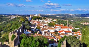 Panorama of Obidos Stock Photography