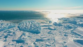 Panorama on ocean and icebergs and ice on the water in front of him, terrain and scenery stock photography