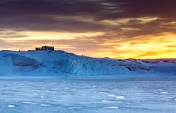 Panorama on ocean and icebergs and ice on the water in front of him, terrain and scenery. stock images