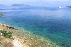 Panorama ocean, jasnego Adriatycki morze Lopud wyspa woda, Chorwacja panorama obraz stock