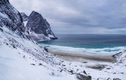 Panorama of ocean and mountains on the Lofoten islands, Norway. Waves on the sea shore. stock photo