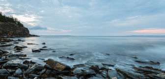 Panorama of ocean shore in the morning Royalty Free Stock Photos
