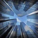 Panorama- och bred vinkelsikt för perspektiv till stålljus - blått Arkivfoton
