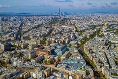 Panorama och flyg- sikt av Paris, från det Montparnasse tornet Royaltyfri Fotografi