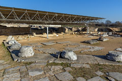 Panorama of Octagon church in the archeological area of ancient Philippi, Greece Stock Photos