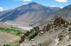 Panorama od Dhankar village and gompa with high himalays and riv Stock Images