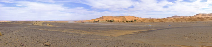 Panorama od erga Chebbi pustyni Maroc Afryka Zdjęcia Royalty Free