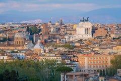 Panorama od Gianicolo tarasu z Altare della Patria w Rzym, Włochy zdjęcie stock
