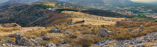 Panorama od Monastery Agion Anargiron above Argos Royalty Free Stock Photo
