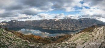 Panorama od szczytu St Elijah w Montenegro zdjęcie royalty free