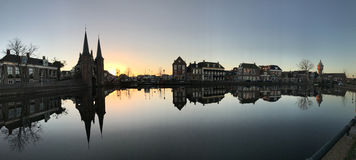 Panorama od Waterpoort w Sneek obraz royalty free