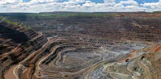 Panorama odkrywkowa kopalnia Zdjęcie Royalty Free