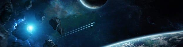 Panorama odległy planeta system w astronautycznych 3D renderingu elementach royalty ilustracja