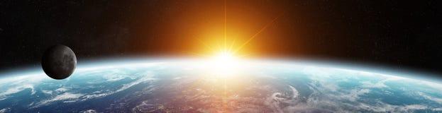 Panorama odległy planeta system w astronautycznych 3D renderingu elementach ilustracja wektor