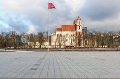 Panorama odnawiący główny plac w Vilnius mieście Obraz Stock