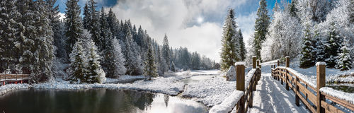Panorama Of A Winter Morning In The Carpathians Stock Photo