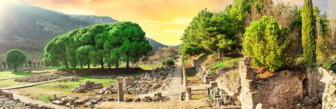 Free Panorama Of Ancient City Of Ephesus In Turkey At Sunset Royalty Free Stock Photos - 209318958