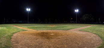 Panorama Of Empty Baseball Field At Night From Behind Home Pate Stock Image